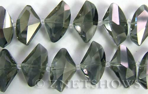 Tiaria Glass Crystal 15-Smoky Quartz  axe Beads <b>24x14mm</b> faceted     per   <b> 8-in-str (10-pc-str)</b>