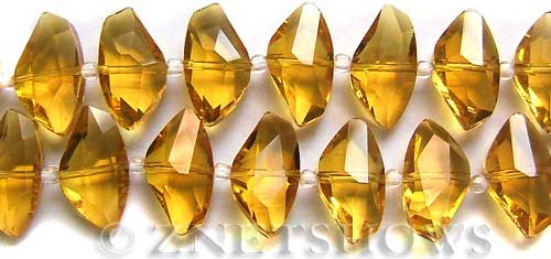 Tiaria Glass Crystal 17-Amber axe Beads <b>19x10mm</b> faceted     per   <b> 8-in-str (20-pc-str) </b>