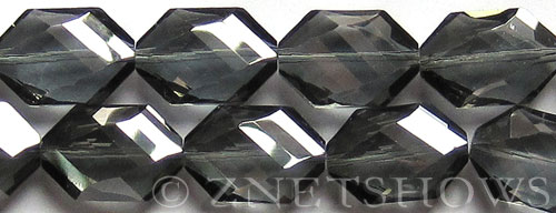 Tiaria Glass Crystal 70-Dark Tan Color hexagon Beads <b>25x17mm</b> faceted     per   <b> 8-pc-str</b>