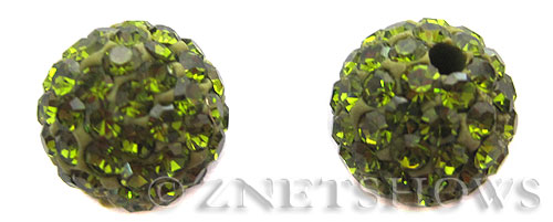 Tiaria Glass Crystal 22-Olive bling ball Beads <b>10mm</b>    per   <b> 2-pc-bag</b>