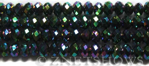 Tiaria Glass Crystal 113-Metallic Green rondelle Beads <b>8x5mm</b> faceted     per   <b> 10-str-hank</b>