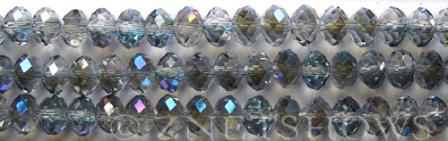 Tiaria Glass Crystal 123-Meridian Blue rondelle Beads <b>8x5mm</b> faceted     per   <b> 10-str-hank</b>