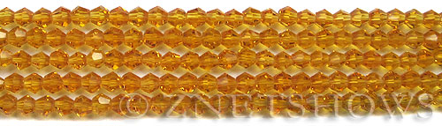 Tiaria Glass Crystal 57-Saffron Yellow bicone Beads <b>4mm</b> faceted     per   <b> 10-str-hank</b>