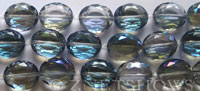 Tiaria Glass Crystal oval Beads <b>about 20x16mm</b> 123-Meridian Blue faceted (12-pc-str) per <b>8-in-str</b>
