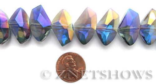 Tiaria Glass Crystal 116-Heliotrope Purple axe Beads <b>24x14mm</b> faceted     per   <b> 8-in-str (14-pc-str)</b>