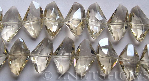 Tiaria Glass Crystal 68-Light Yellow axe Beads <b>24x14mm</b> faceted     per   <b> 8-in-str (14-pc-str)</b>