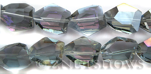 Tiaria Glass Crystal 121-Half Heliotrope nugget Beads <b>20x15mm</b> faceted     per   <b> 8-in-str (11-pc-str)</b>