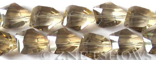 Tiaria Glass Crystal 69-Tan Color nugget Beads <b>18x14mm</b> faceted     per   <b> 8-in-str (11-pc-str)</b>