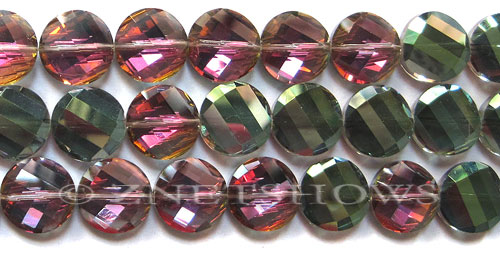 Tiaria Glass Crystal 120-Sahara Green coin Beads <b>14mm</b> faceted     per   <b> 17-pc-str</b>