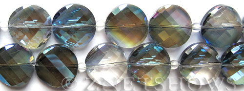 Tiaria Glass Crystal 123-Meridian Blue coin Beads <b>14mm</b> faceted     per   <b> 17-pc-str</b>