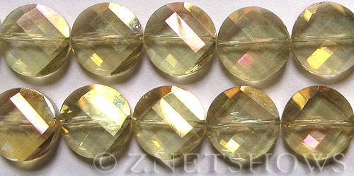 Tiaria Glass Crystal 10AB-Sunglow AB coin Beads <b>18mm	</b> faceted twisted    per   <b> 8-in-str (11-pc-str)</b>