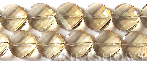 Tiaria Glass Crystal 69-Tan Color coin Beads <b>18mm</b> faceted     per   <b> 8-in-str (11-pc-str)</b>