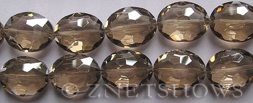 Tiaria Glass Crystal 69-Tan Color oval Beads <b>20x15mm</b> faceted     per   <b> 8-in-str (10-pc-str) </b>
