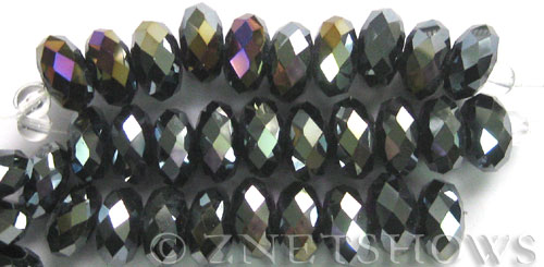 Tiaria Glass Crystal 02AB-Jet Black AB rondelle Beads <b>14x10mm</b> faceted 5mm large hole    per   <b> 10-pc-str</b>