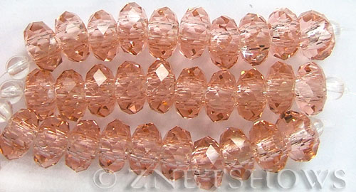 Tiaria Glass Crystal 07-Sweet Peach rondelle Beads <b>14x10mm</b> faceted 5mm large hole    per   <b> 10-pc-str</b>