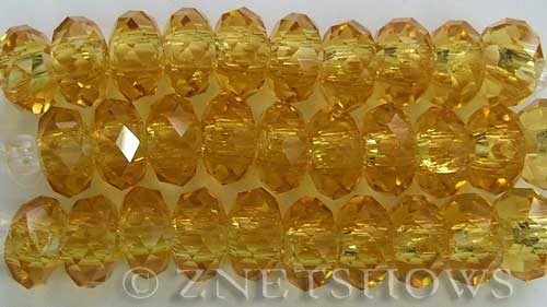 Tiaria Glass Crystal 10-Sunglow rondelle Beads <b>14x10mm</b> faceted 5mm large hole    per   <b> 10-pc-str</b>