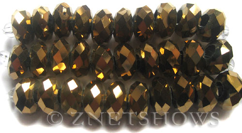 Tiaria Glass Crystal 105-Metallic Copper rondelle Beads <b>14x10mm</b> faceted 5mm large hole    per   <b> 10-pc-str</b>