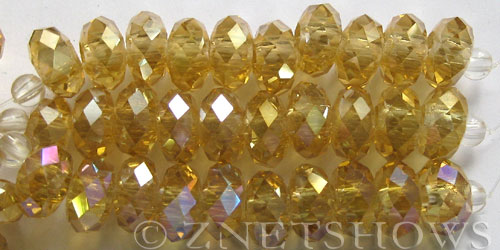 Tiaria Glass Crystal 11AB-Gold Champagne AB rondelle Beads <b>14x10mm</b> faceted 5mm large hole    per   <b> 10-pc-str</b>