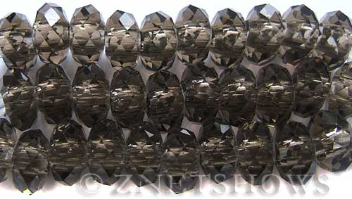 Tiaria Glass Crystal 15-Smoky Quartz  rondelle Beads <b>14x10mm</b> faceted 5mm large hole    per   <b> 10-pc-str</b>