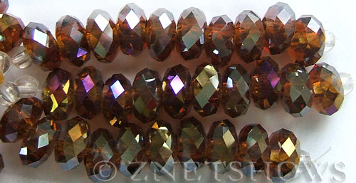 Tiaria Glass Crystal 17AB-Amber AB rondelle Beads <b>14x10mm</b> faceted 5mm large hole    per   <b> 10-pc-str</b>