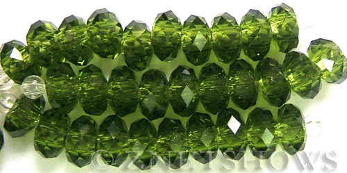 Tiaria Glass Crystal 22-Olive rondelle Beads <b>14x10mm</b> faceted 5mm large hole    per   <b> 10-pc-str</b>