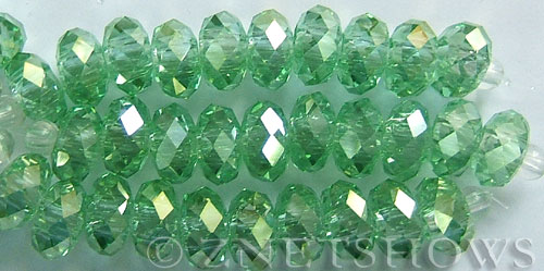 Tiaria Glass Crystal 23AB-Peridot AB rondelle Beads <b>14x10mm</b> faceted 5mm large hole    per   <b> 10-pc-str</b>