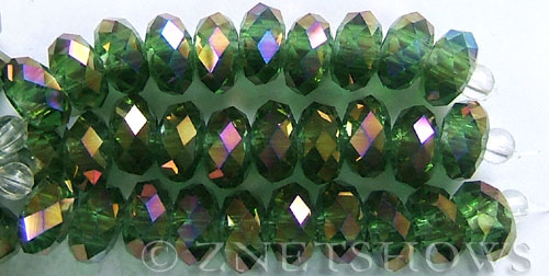 Tiaria Glass Crystal 24AB-Pine green AB rondelle Beads <b>14x10mm</b> faceted 5mm large hole    per   <b> 10-pc-str</b>