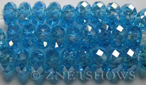 Tiaria Glass Crystal 28AB-Turquoise Bay AB rondelle Beads <b>14x10mm</b> faceted 5mm large hole    per   <b> 10-pc-str</b>