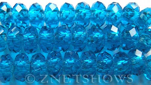 Tiaria Glass Crystal 29-Barbados Blue rondelle Beads <b>14x10mm</b> faceted 5mm large hole    per   <b> 10-pc-str</b>
