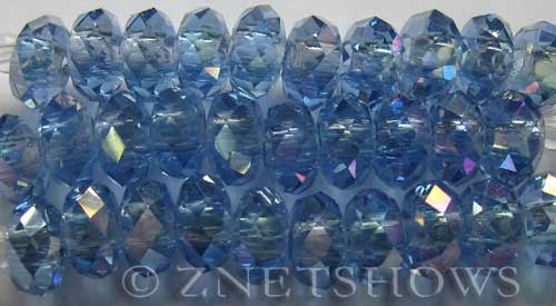 Tiaria Glass Crystal 31AB-Light Sapphire AB rondelle Beads <b>14x10mm</b> faceted 5mm large hole    per   <b> 10-pc-str</b>