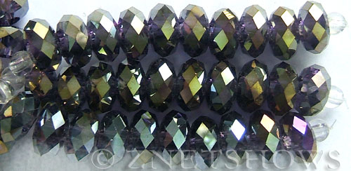 Tiaria Glass Crystal 35AB-Purple AB rondelle Beads <b>14x10mm</b> faceted 5mm large hole    per   <b> 10-pc-str</b>