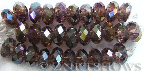 Tiaria Glass Crystal 37AB-Medium Amethyst AB rondelle Beads <b>14x10mm</b> faceted 5mm large hole    per   <b> 10-pc-str</b>