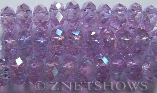 Tiaria Glass Crystal 39AB-Periwinkle Changes AB rondelle Beads <b>14x10mm</b> faceted 5mm large hole    per   <b> 10-pc-str</b>
