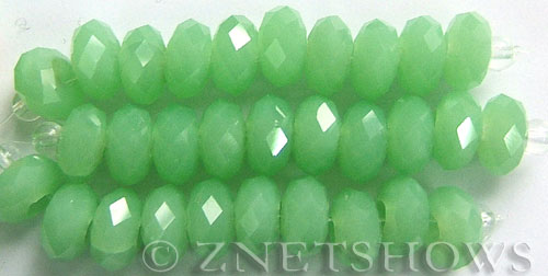 Tiaria Glass Crystal 44-Opaque Spring Green rondelle Beads <b>14x10mm</b> faceted 5mm large hole    per   <b> 10-pc-str</b>