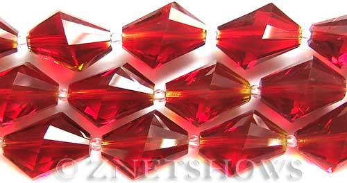 Tiaria Glass Crystal 04-Light Cherry diamond Beads <b>20x17mm</b> faceted     per   <b> 8-in-str (10-pc-str)</b>
