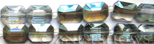 Tiaria Glass Crystal 123-Meridian Blue rectangle Beads <b>18x13mm</b> faceted     per   <b> 8-in-str (12-pc-str)</b>