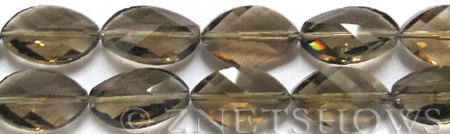 Tiaria Glass Crystal 15-Smoky Quartz  marquise spindle Beads <b>21x13mm</b> faceted     per   <b> 8-in-str (10-pc-str)</b>