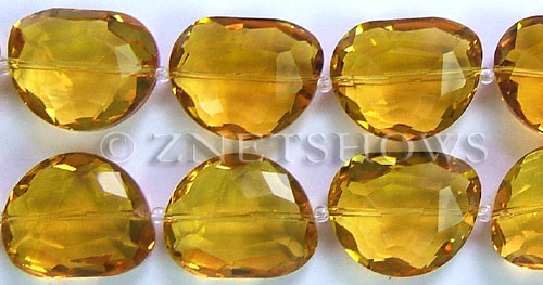 Tiaria Glass Crystal 10-Sunglow kidney Pendants <b>28x22mm</b> faceted half-moon    per   <b> 8-in-str (5-pc-str)</b>