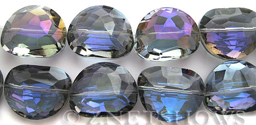 Tiaria Glass Crystal 121-Half Heliotrope kidney Pendants <b>28x22mm</b> faceted     per   <b> 8-in-str  (7-pc-str)</b>