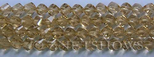 Tiaria Glass Crystal light golden color twist Beads <b>8mm</b> faceted   per   <b> 8-in-str (27-pc-str)</b>