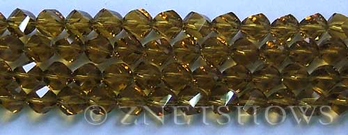 Tiaria Glass Crystal smoky yellow color twist Beads <b>8mm</b> faceted   per   <b> 8-in-str (27-pc-str)</b>