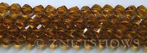 Tiaria Glass Crystal 16-Desert Gold twist Beads <b>8mm</b> faceted     per   <b> 8-in-str  (27-pc-str)</b>