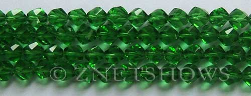 Tiaria Glass Crystal 24-Pine green twist Beads <b>8mm</b> faceted     per   <b> 8-in-str (27-pc-str)</b>