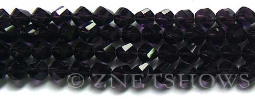 Tiaria Glass Crystal 38-Dark Amethyst twist Beads <b>8mm</b> faceted     per   <b> 8-in-str  (27-pc-str)</b>