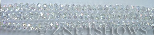 Tiaria Glass Crystal 01AB-Crystal AB rondelle Beads <b>4x3mm</b> faceted     per   <b> 10-str-hank</b>