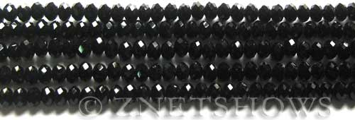 Tiaria Glass Crystal 02-Jet Black Rondelle Beads <b>4x3mm</b> faceted     per   <b> 150-pc-str</b>