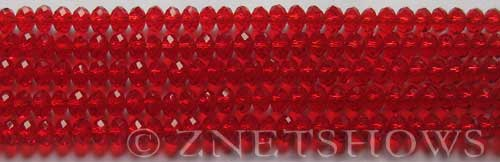 Tiaria Glass Crystal 05-Cherry Red rondelle Beads <b>4x3mm</b> faceted     per   <b> 10-str-hank (50-pc-str)</b>