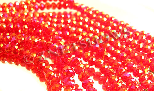 Tiaria Glass Crystal 05AB-Cherry Red AB rondelle Beads <b>4x3mm</b> faceted     per   <b> 10-str-hank (50-pc-str)</b>