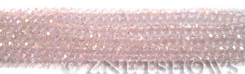 Tiaria Glass Crystal 06AB-Blossom Pink AB rondelle Beads <b>4x3mm</b> faceted     per   <b> 10-str-hank (50-pc-str)</b>