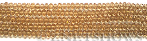 Tiaria Glass Crystal 11-Gold Champagne rondelle Beads <b>4x3mm</b> faceted     per   <b> 10-str-hank (50-pc-str)</b>